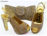 Italian Pumps Shoes Matching Bag With Sequins Paillette Gold African Nigeria Shoes and Bag Set for Parties 38 43 WENZHAN B94 5