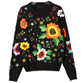 Super Luxury Emboridery Floral Women Sweaters Fashion High Quality Long-sleeved O-neck Black Knitwear Female's Trendy Tops SY782