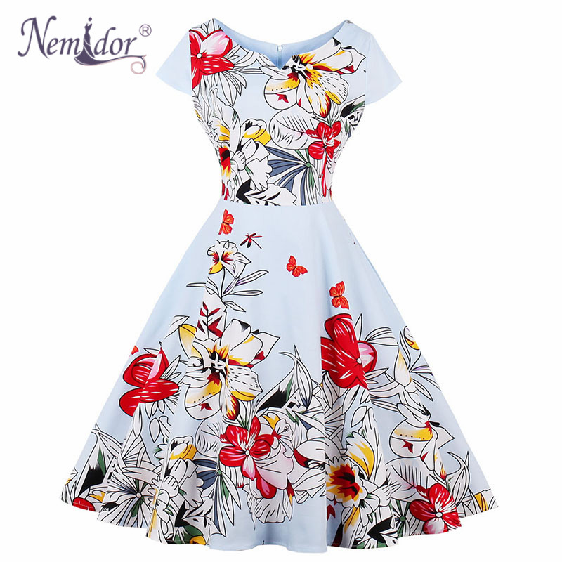 Nemidor Elegant Floral Print 50s Short Sleeve Plus Size Swing Dress V-neck Knee Length Party A-line Rockabilly Dress