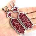 Awesome Long Big Pink Raspberry Rhodolite Garnet, White CZ Created Woman's Wedding   Silver Earrings 95x24mm