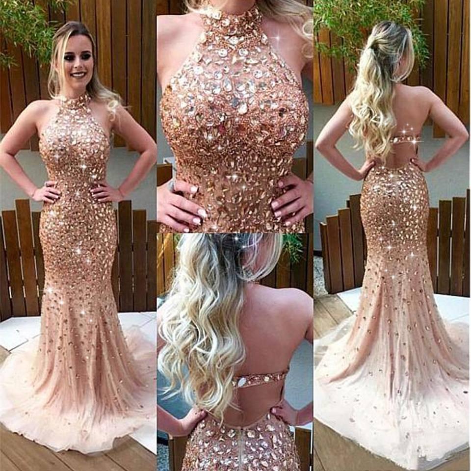New Arrival Mermaid   Prom     Dresses   2019 O-Neck Sleeveless Floor Length Crystal Beading Tulle Evening   Dresses   Formal Gowns Vestido