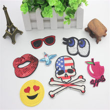 7PCs Mixed Iron On Patches For Clothes Cartoon Party Motif Badges Embroidered DIY Clothes Ornaments Sewing Accessories все цены