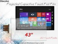 Obeytec 43 емкостный сенсорный экран пленка, 20 касаний, USB порт, контроллер SIS, хороший выбор для белой доски, Smart tv, киоск