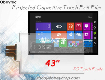 """obeycrop 43"""" Capacitive Touch Screen Film, 20 Touches, USB Port, SIS Controller, Good Choice for White Board, Smart TV, Kiosk"""
