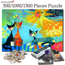 MOMEMO Moon Cat Wooden Puzzle 500 1000 1500 Pieces Jigsaw Puzzles for Adults Creative Games Toys Home Decor