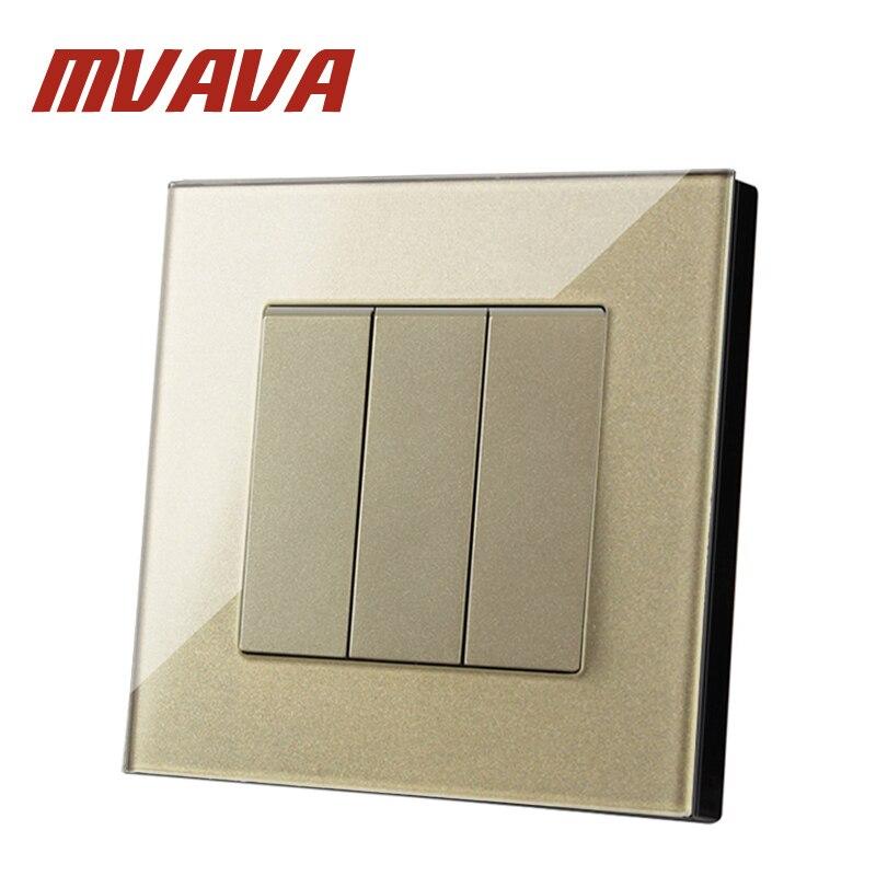 MVAVA Luxury Champagne 3 Gang 2 Way Crystal Glass UK EU Double Control Push Button Light Wall Switch 86*90MM Electric Switch