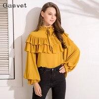 Gaovot Spring Women Blouse Shirt Series Bow Collar Ruffles Fashion Chiffon Tops Shirts Woman Lantern Sleeve