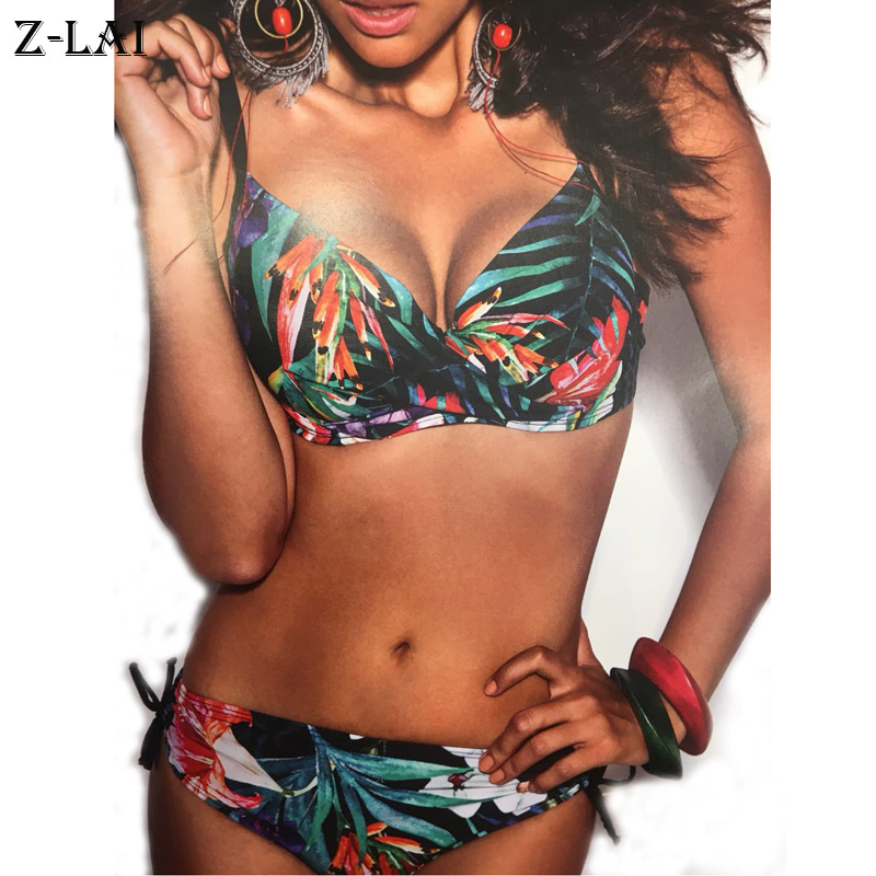 Z-LAI Sexy Leopard Print Bikini push up swimwear women Low Waist Thong Swimsuit Female bathing suit plus size bikini set biquini 2