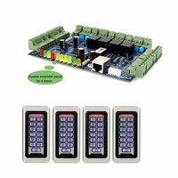 Tivdio двери Система контроля доступа с 4 RFID Водонепроницаемый EM ID Card и код читателя + 1 tcp/ip двери Управление доступом; доска Панель
