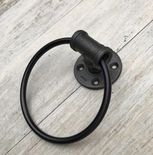 2Pieces/Lot Industrial  LOFT Black Iron Ring Pull-button Door and Button Handle