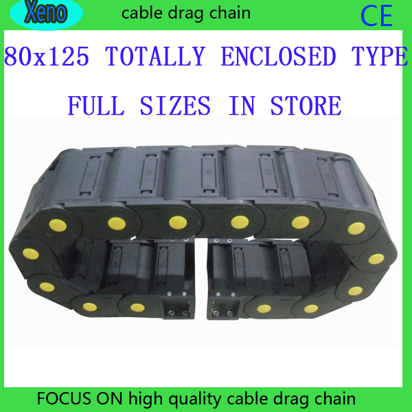 Free Shipping 80x125 10 Meters Totally Enclosed Type Plastic Cable Drag Chain Wire Carrier With End Connects For CNC Machine free shipping 80x250 1 meter totally enclosed type plastic cable drag chain wire carrier with end connects for cnc machine