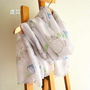 Милый белый шарф в японском стиле с героями мультфильмов, женские шарфы на весну, лето, Осень, пляжный солнцезащитный плащ, длинный шарф, шаль в подарок для девочек