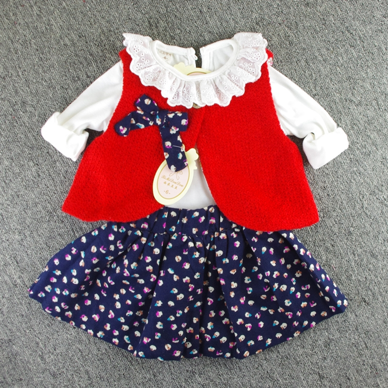 Girls 3 Pieces font b Sets b font Basic Long Sleeve T Shirt Knitted Vest Skirt