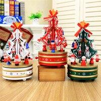 Jakość Boże Narodzenie Drewniane Choinki Pozytywka Szczęśliwego Nowego Roku Obrotowego Muzyczne Pudełka Pojemniki Navidad Dekoracje Dla Domu