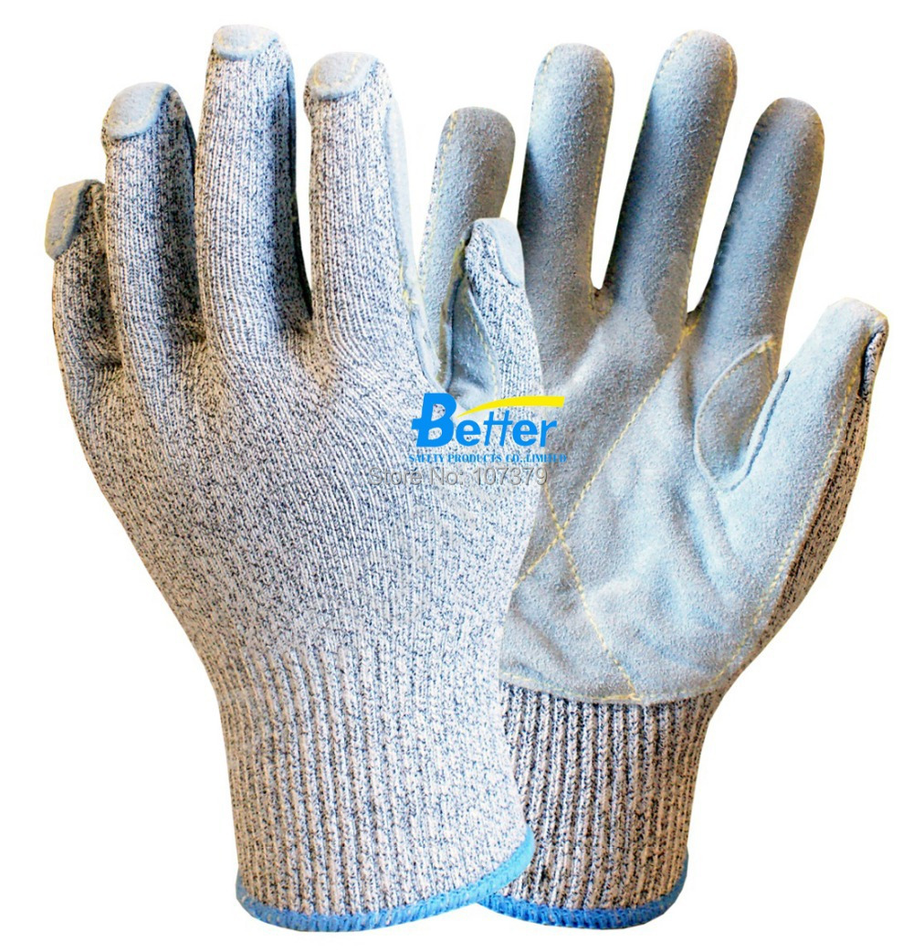 HPPE Anti-cut Working Glove 13 gauge HPPE Safety Glove Cow Split Leather Cut Resistant W ...