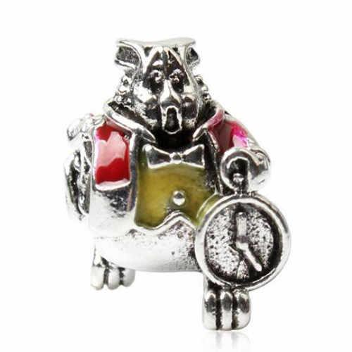 הגעה חדשה דוב לב נעילת מפתח נוצת פרח קריסטל חרוזים Fit פנדורה צמידי לנשים DIY חג מתנה ביצוע תכשיטים