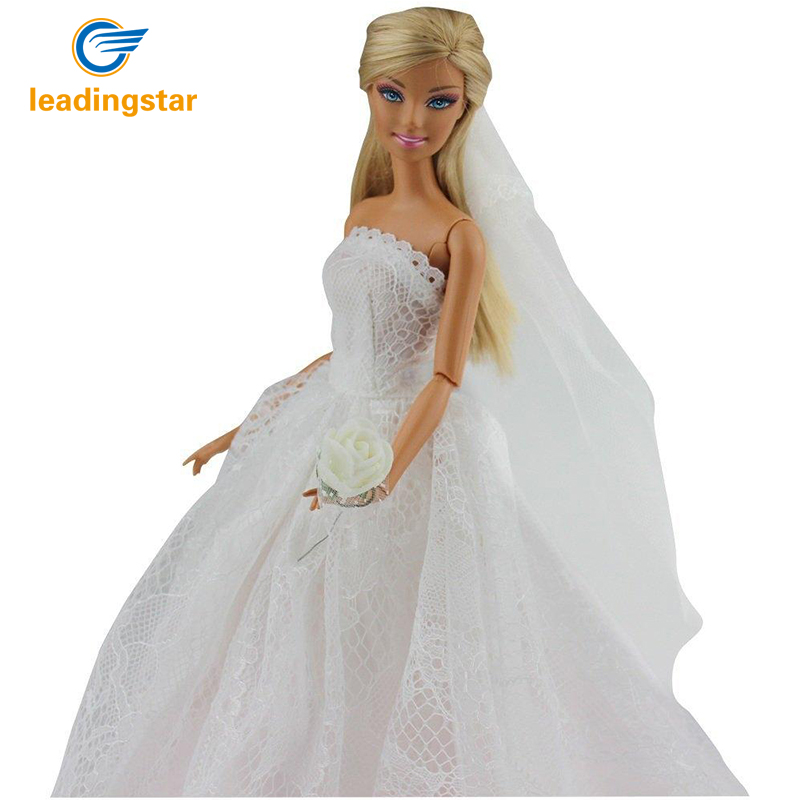 LeadingStar New Wedding Dress for Barbie Doll Princess Evening Party Clothes Wears Long Dress Outfit for Barbie Doll zk30 leadingstar 2017 new wedding bridal dress princess gown evening party dress doll clothes fit for barbie doll for kids gift zk30