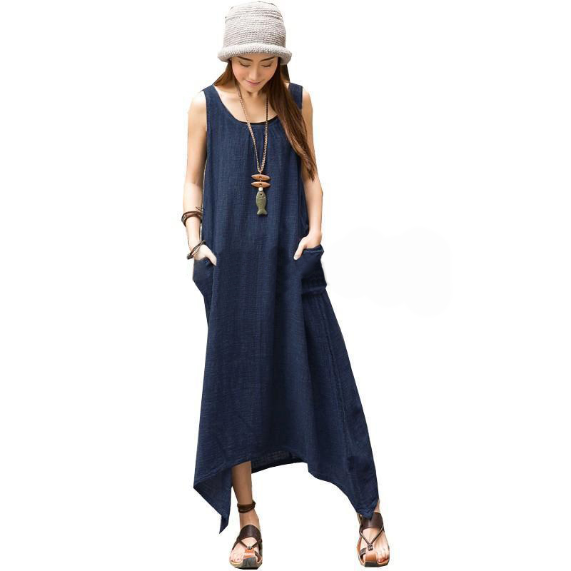fe95bae18bc Plus size Linen Dress 2018 Womens Casual Summer Sexy Beach Fashion Round  Neck Solid Color Long Cotton Beach Dress
