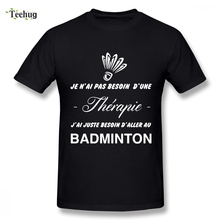Hipster Man Badminton Tshirt Tee Casual Unique Design Birthday gift For shirt Nice Short-sleeved