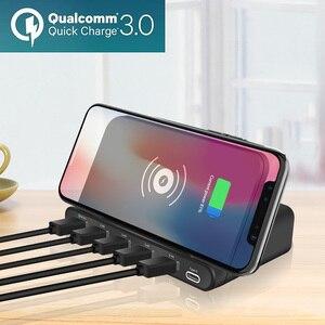 Image 3 - 10 Вт QI Беспроводной Зарядное устройство 6 USB зарядка Док станция с функцией быстрой зарядки 3,0 мобильный телефон планшет быстрой зарядки Настольный Мощность адаптер розеток