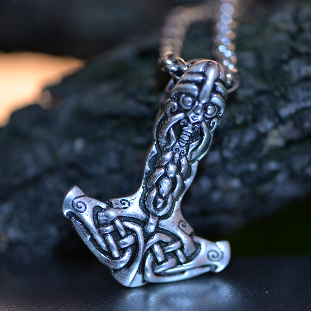 10pcs Langhong Vikings Hammer Necklace Thor s Hammer Amulet pendant Necklace Norse Jewelry Talisman