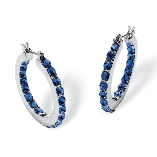 Palmbeach Jewelry 5406409 Birthstone Inside Out Hoop Earrings In Silvertone September - Simulated Blue Stone inside out