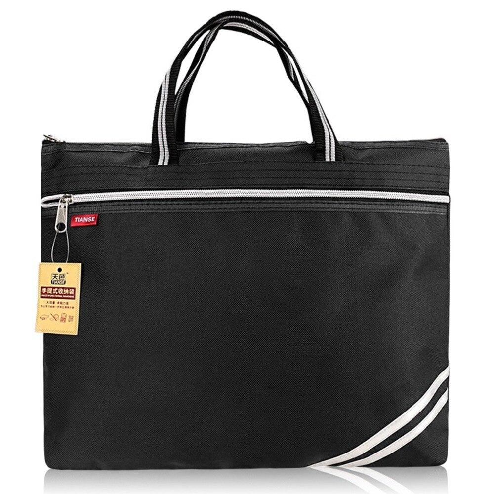 TIANSE Document Bag Oxford Cloth Briefcase Business Men Ladies Portable Zipper PU Leather File Bag Double Deck Data Package