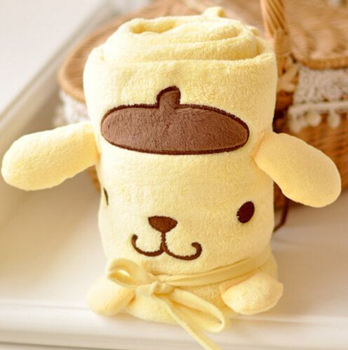 Plush roll blanket 1pc 95cm cartoon Pom Pom Purin pudding dog soft flannel office warm rest toy creative gift for kids baby candice guo plush toy stuffed doll cartoon animal roll blanket pom purin cinnamoroll dog marie cat office rest birthday gift 1pc