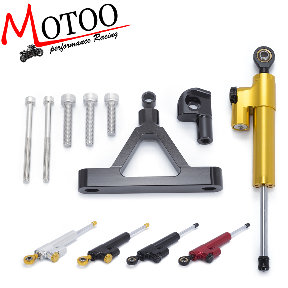 Motoo - CNC Steering Damper Stabilizer with Bracket Safty Control Mounting Kit for Kawasaki ZX-6R 2007 2008 fxcnc aluminum motorcycle steering stabilizer damper mounting bracket support kit for yamaha fz1 fazer 2006 2015 2007 2008 09