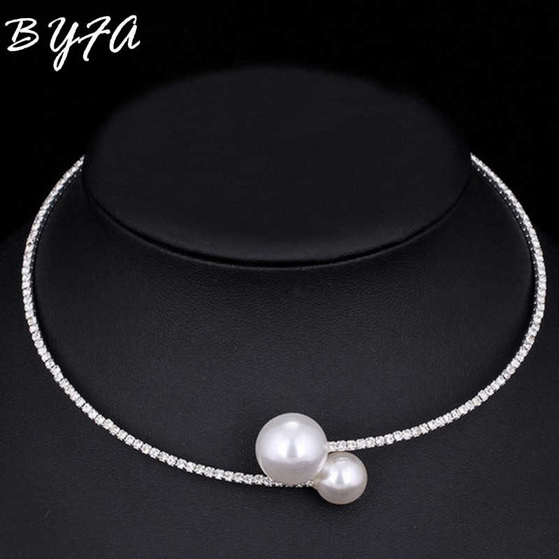 Bride Wedding Jewelry Rhinestone Imitation Pearl Crystal Chain Circle Necklace Choker Bangle Bracelets Gift for Women Girls