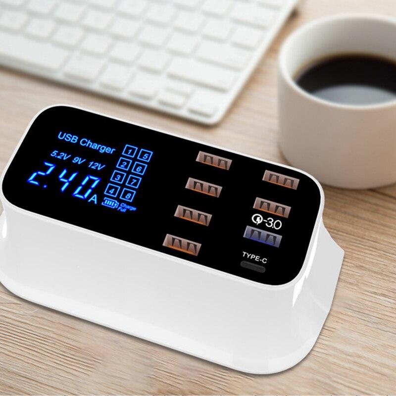 Быстрая зарядка 3,0 Смарт USB Type C зарядная станция светодиодный дисплей Быстрая зарядка телефон планшет USB зарядное устройство для iPhone Samsung ад
