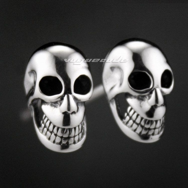 925 Sterling Silver Smile Skull Mens Biker Rocker Earring 8M007_#pair spoon fork shaped keychain with smile expression silver pair