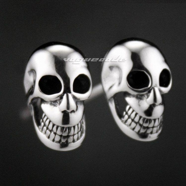 925 Sterling argent sourire crâne hommes Biker Rocker boucle d'oreille 8M007 _ # paire
