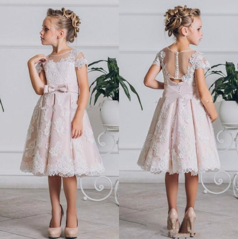 New Cute Princess   Dress   Knee Length Tulle   Flower     Girl     Dress   with Lace Appliques Belt Sheer Back Covered With Buttons Cap Sleeves