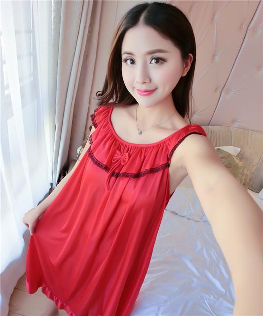 5d4378cb2 Longa camisola de seda camisola de verão para as mulheres plus size ...