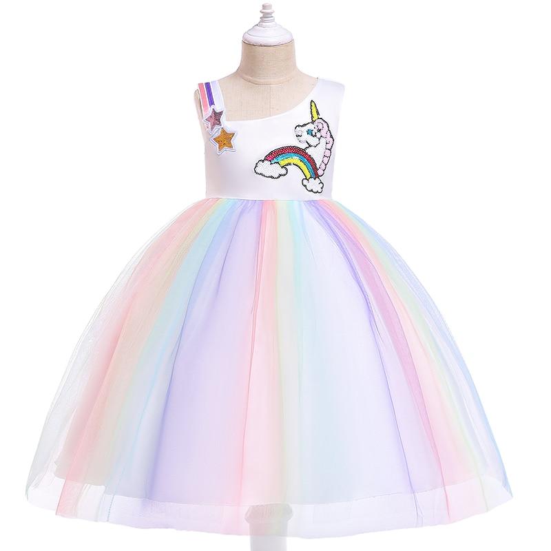 BOTEZAI new cartoon fashion strapless unicorn casual dress girl children trend cute