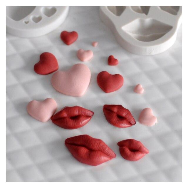 1 PC 3D Lips Cuore Del Bigné Del Silicone del Cioccolato di Cottura Stampi Decor