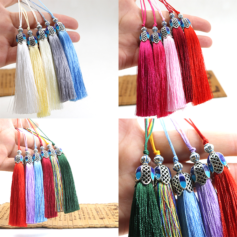 2pcs/Pack 8cm Silk Tassel Fringe Brush Hanging Rope DIY Tassels Fringe Trim Pendant For Sewing Curtains Jewelry DIY Home Decor
