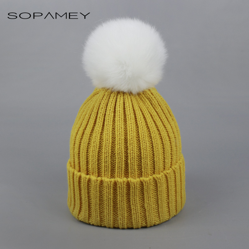 Children Baby Winter Skullies Winter Faux Fur Hat pompom Beanies for Kids Child 2017 Fashion Stripe warm Ski Cap Bone skullies