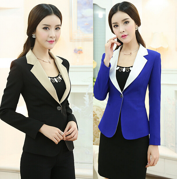 bf7493ed609 Hot Bright Blue Suit Women s Business Office Formal Trouser   Skirts Suits  OL Slim Fit Patchwork Blazers Coats Pants