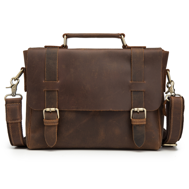 Man Briefcases Genuine Crazy Horse Leather Messenger Bag Shoulder Crossbody Retro Male Handbag Business Travel Gift Blosa Mochil