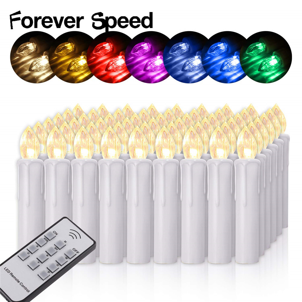 Candels Led Light Flame Candles Home Decoration 40Pcs Wedding Decor 7 color changing Lamp Accessories