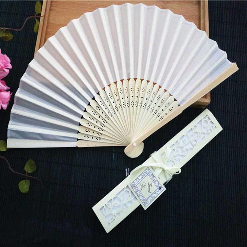 Image 2 - 50 pçs/lote Personalizado Ventilador de Dobramento Personalizado  Nome Da Noiva