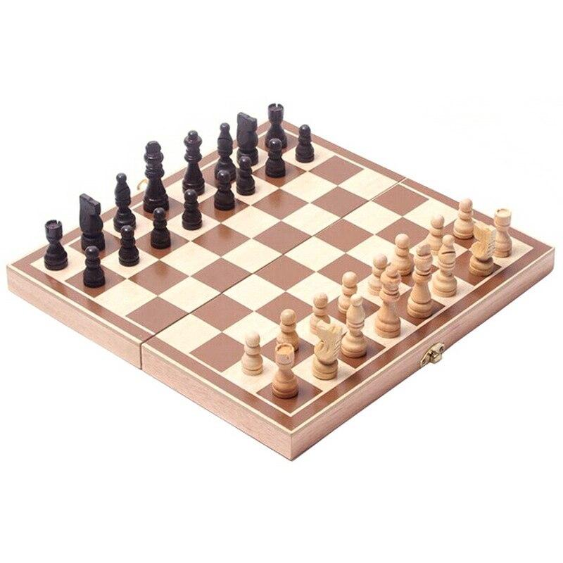 Vintage Holz Stücke Schachspiel Faltbrett Box Holz Hand Geschnitzte Geschenk Kind Spielzeug Schachspiel Schach für Entspannen