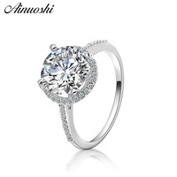 AINOUSHI Fashion 925 Sterling Silver Wedding Engagement Round Halo Rings Male Silver Anniversary Party Rings Jewelry pero llama