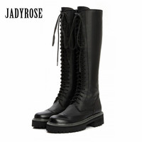 Jady Rose Vintage Black Women Knee High Boots Lace Up Side Zip Platform High Boots Thick Heel Flat Martin Boot for Autumn Winter