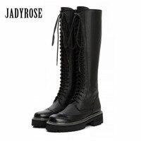 Jady Rose vintage negro mujeres rodilla Botas Encaje hasta cremallera lateral plataforma Botas plana talón grueso Martin para otoño invierno