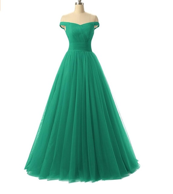 a0c95a7ff6 Pretty Tulle Prom Evening Dress Patterns Off-shoulder Lace-up Floor Length  Pleated Bodice Custom Made Dresses Formal vestidos