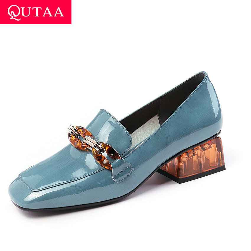 QUTAA 2019 Square Toe Fashion Square High Heel Cow Leather All Match Women Pumps New Autumn Slip On Women Single Shoes Size34-42