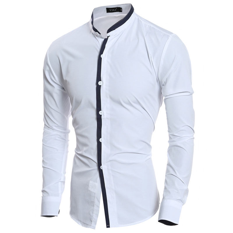 2016 mode stehkragen Solide Herren Hemden langarm Slim Fit Casual Social  Camisas Masculinas für Mann Chemise homme in 2016 mode stehkragen Solide  Herren ... 12312be4a2